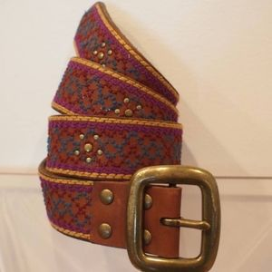 LUCKY BRAND Embroidered Suede Leather Belt sz M